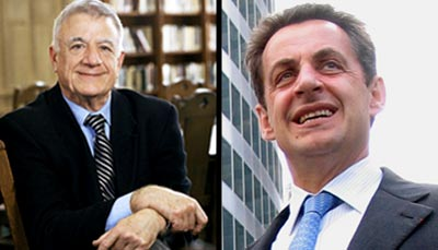 Alan Wolfe (left) and French President Nicolas Sarkozy. [Photo Credit: Grébert ]